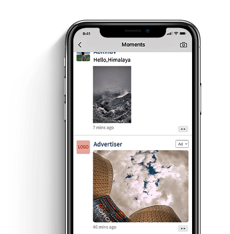 WeChat moments ad example photo on phone