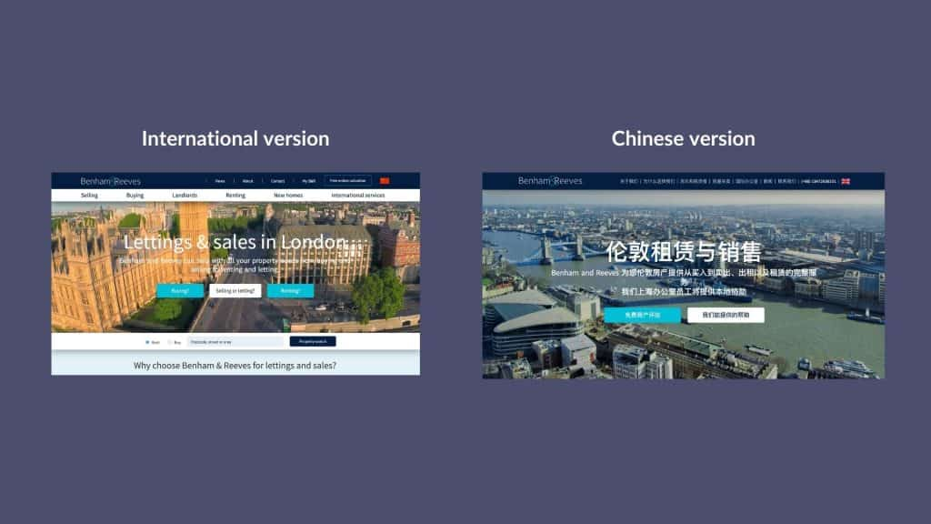 Real Estate Business Website - Chinese landing page
